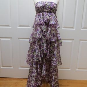 Strapless Multi-layered Floral Dress - Size 4